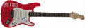 Musical Instruments:Electric Guitars, Guns N' Roses Autographed Guitar. A red S101 Standard six-stringelectric guitar with mother-of-pearl pick guard, decorated ...