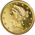 Proof Liberty Half Eagles: , 1888 $5 PR64 Cameo PCGS. Mint records indicate that 94 proof halfeagles were coined in 1888, and less than half of those s...