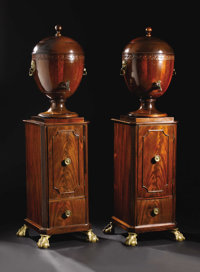 An Important Pair of George III Mahogany Side Board Pedestals and Urns  Unknown maker, London, England Circa 1760-1775 M...