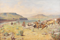 H. W. CAYLOR (1867-1932) Rush For Water Oil on canvas 20in. x 30in. Signed lower right  H. W. Caylor was primaril