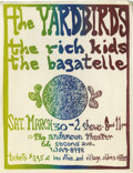 Music Memorabilia:Posters, Yardbirds Anderson Theater Concert Handbill (1968). Here's a rarehandbill for one of those magical shows everyone wishes th...