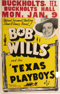 Music Memorabilia:Posters, Bob Wills and the Texas Playboys Venue Poster (circa 1940s). Theincredible influence of Bob Wills and Country Swing music a...