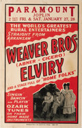 Music Memorabilia:Posters, Weaver Brothers and Elviry Concert Poster (circa 1940s). Thiscomedy/music group may not be well-remembered today, but their...
