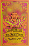 Music Memorabilia:Original Art, Jimi Hendrix Fillmore East Concert Poster, Signed by the Artist(Bill Graham/Fantasy Unlimited, 1968) David Byrd's design fo...