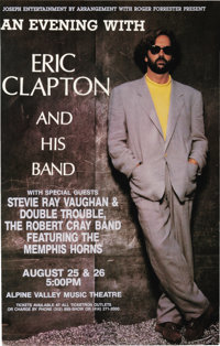 Eric Clapton/Stevie Ray Vaughan Alpine Valley Music Center Concert Poster (1990). This poster originally advertised the...