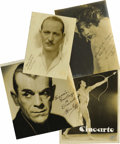 Movie/TV Memorabilia:Autographs and Signed Items, Great Actors Signed Photos. Set of four vintage b&w photosinscribed and signed by Olive Borden (dated 1927), BorisKarloff,...