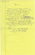 "Movie/TV Memorabilia:Autographs and Signed Items, Jerry Seinfeld Handwritten Joke. A handwritten monologue by JerrySeinfeld in blue ink on a sheet of yellow 8"" x 14"" legal p..."