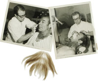 """Wolf Man"" Make-up Hair and Pictures. Included are a swatch of ""fur"" used to transform Lon Chaney Jr..."
