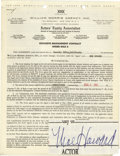 Movie/TV Memorabilia:Autographs and Signed Items, Moe Howard Signed Contract. A two-page, double-sided William MorrisAgency management contract dated August 9, 1967, and sig...