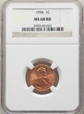 Lincoln Cents, 1994 1C MS68 Red NGC. NGC Census: (32/1). PCGS Population: (35/0). ...
