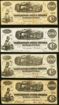 Confederate Notes:1862 Issues, T40 $100 1862 Four Examples Fine-Very Fine or Better.. ... (Total: 4 notes)