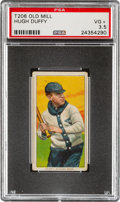 Baseball Cards:Singles (Pre-1930), 1909-11 T206 Old Mill Hugh Duffy PSA VG+ 3.5 - The Finest of Only Six Confirmed Old Mill Backs! ...