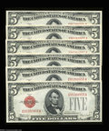 Small Size:Legal Tender Notes, Fr. 1530 $5 1928E Legal Tender Notes. Cut Half Sheet of Six. ...