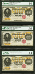 Large Size:Gold Certificates, Fr. 1225h $10,000 1900 Gold Certificate PMG Choice Uncirculated 64 Three Examples.. ... (Total: 3 notes)
