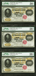 Large Size:Gold Certificates, Fr. 1225h $10,000 1900 Gold Certificate PMG Choice About Unc 58 EPQ Three Examples.. ... (Total: 3 notes)