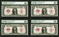 Large Size:Legal Tender Notes, Cut Sheet of Four Fr. 40* $1 1923 Legal Tender PMG Gem Uncirculated 65 EPQ (3); PMG Gem Uncirculated 66 EPQ.. ... (Total: 4 notes)