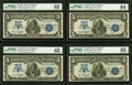 Large Size:Silver Certificates, Fr. 280 $5 1899 Mule Silver Certificates Cut Sheet of Four PMG Choice Uncirculated 63 (3); Choice Uncirculated 64.. ... (Total: 4 notes)