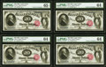 Large Size:Legal Tender Notes, Cut Sheet of Four Fr. 141 $20 1880 Legal Tender PMG Choice Uncirculated 64 (3); PMG Gem Uncirculated 65 EPQ.. ... (Total: 4 notes)