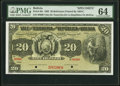 World Currency, Bolivia Tesoreria de la Republica 20 Bolivianos 29.11.1902 Pick 95s Specimen PMG Choice Uncirculated 64.. ...