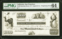 San Francisco, CA- Banking House of F. Argenti & Co. $1000 185_ UNL Proprietary Proof PMG Choice Uncirculated 64.&am...