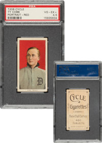 1909-11 T206 Cycle 460 Ty Cobb (Portrait-Red) PSA VG-EX+ 4.5 - Pop One, Only Two Higher For Brand