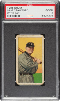 1909-11 T206 Drum Sam Crawford (With Bat) PSA Good 2 - Only Two Confirmed Drum Backs!