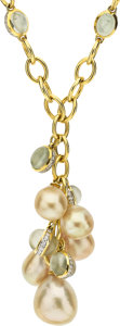 Estate Jewelry:Necklaces, South Sea Cultured Pearl, Diamond, Moonstone, Gold Necklace . ...