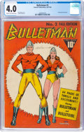 Golden Age (1938-1955):Superhero, Bulletman #2 (Fawcett Publications, 1941) CGC VG 4.0 Cream to off-white pages....