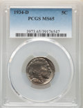Buffalo Nickels: , 1934-D 5C MS65 PCGS. PCGS Population: (470/106). NGC Census: (108/17). CDN: $290 Whsle. Bid for NGC/PCGS MS65. Mintage 7,48...
