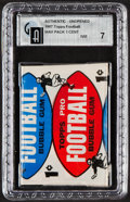 Baseball Cards:Unopened Packs/Display Boxes, 1957 Topps Football One Cent Pack GAI NM 7. ...