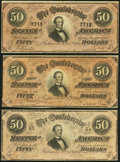 Confederate Notes:1864 Issues, T66 $50 1864 Three Examples Very Fine or Better.. ... (Total: 3 notes)