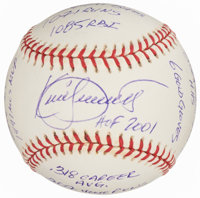 Kirby Puckett Single Signed Baseball With Statistic Inscriptions