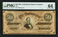 Confederate Notes:1864 Issues, T66 $50 1864 PF-8 Cr. 499 PMG Choice Uncirculated 64.. ...