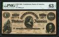Confederate Notes:1864 Issues, T65 $100 1864 PF-2 Cr. 493 PMG Choice Uncirculated 63 EPQ.. ...