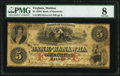 Obsoletes By State:Virginia, Malden, VA- Bank of Kanawha $5 July 1, 1854 as G2a J-L BM05-05 PMG Very Good 8.. ...