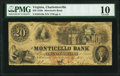 Obsoletes By State:Virginia, Charlottesville, VA- Monticello Bank $20 Apr. 1, 1857 G10a J-L BC25-30 PMG Very Good 10.. ...