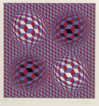 Victor Vasarely (1906-1997) Untitled, late 20th century Screenprint in colors on wove paper 12-3/