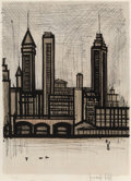 Prints & Multiples, Bernard Buffet (1928-1999). Bank Street, New York, 1967. Lithograph in colors on paper. 26-3/4 x 19-3/8 inches (67.9 x 4...