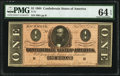Confederate Notes:1864 Issues, T71 $1 1864 PF-7 Cr. UNL PMG Choice Uncirculated 64 EPQ.. ...