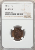 1872 1C PR66 Red and Brown NGC. NGC Census: (10/0). PCGS Population: (13/0). PR66. Mintage 950. ...(PCGS# 2304)