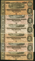 Confederate Notes:1864 Issues, T68 $10 1864 Six Examples Fine to About Uncirculated.. ... (Total: 6 notes)