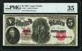 Large Size:Legal Tender Notes, Fr. 88 $5 1907 Legal Tender PMG Choice Very Fine 35.. ...