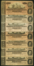 Confederate Notes:1864 Issues, T67 $20 1864 Seven Examples Fine-Very Fine or Better.. ... (Total: 7 notes)