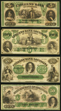 Obsoletes By State:Louisiana, New Orleans, LA- Citizens' Bank of Louisiana $5 18__ Remainder Crisp Uncirculated;. Shreveport, LA- Citizens' Bank of ... (Total: 4 notes)