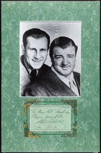 """Abbott and Costello (1940s/1990s). Very Fine. Matted Autographed Card with Restrike Photo (11.75"""" X 18""""). Come..."""
