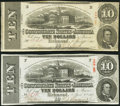 Confederate Notes:1863 Issues, T59 $10 1863 Two Examples Fine-Very Fine; About Uncirculated.. ... (Total: 2 notes)