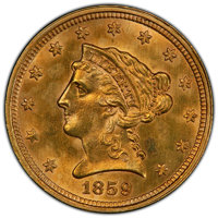 1859 $2 1/2 Old Reverse, Type One, -- Cleaned -- PCGS Genuine. Unc Details. ...(PCGS# 97788)