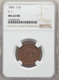 Half Cents, 1850 1/2 C C-1, B-1, R.2, MS62 Brown NGC. NGC Census: (62/49). PCGS Population: (2/3). MS62. Mintage 39,800. ...