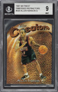 Basketball Cards:Singles (1980-Now), 1997-98 Finest Embossed Refractor Allen Iverson #320 BGS Mint 9 - Serial Numbered 50/74....