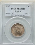 Standing Liberty Quarters, 1917 25C Type One MS64 Full Head PCGS. PCGS Population: (2193/1920). NGC Census: (1433/1166). CDN: $475 Whsle. Bid for NGC/...